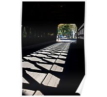 Covered Bridge Cross Hatched Shadows Poster