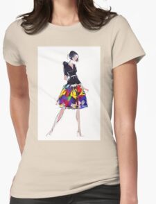 Beautiful sensual woman in fashionable skirt  Womens Fitted T-Shirt