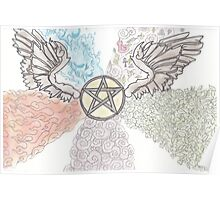 Elemental Winged Pentacle Poster