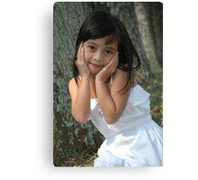 little girl with nice smile expression Canvas Print