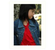 little girl stand up beside the tree Art Print