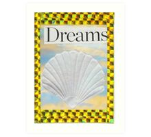 Beach Motif with Sea Shell and Gold trim Art Print