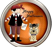 Cute Halloween Pirate and Pet Dog Sticker by CiaoBellaLtd