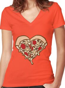 Pizza Heart Women's Fitted V-Neck T-Shirt