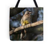 Young Adult Red Wattle Bird in Jacaranda Tote Bag