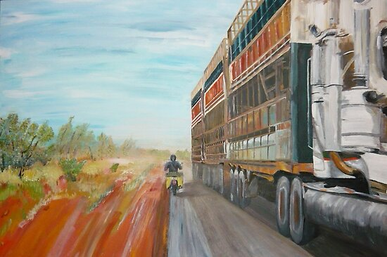 The Camooweal Track - Cattle Truck by Donna Macarone