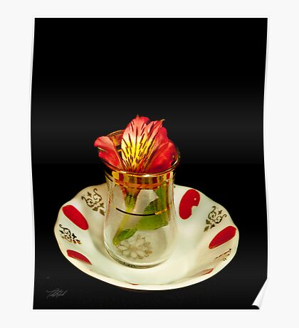 Flower in a tea cup Poster