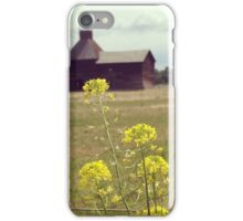 Yellow Wildflowers with Barn in the Distance  iPhone Case/Skin
