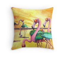 Flymingos at sunset Throw Pillow