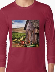Rustic Barn in Wine Country with John Deere Equipment  Long Sleeve T-Shirt