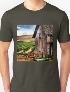 Rustic Barn in Wine Country with John Deere Equipment  Unisex T-Shirt