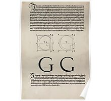 Measurement With Compass Line Leveling Albrecht Dürer or Durer 1525 0120 Alphabet Letters Calligraphy Font Poster