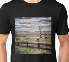 Snag Tree in a Pasture with Horses  Unisex T-Shirt