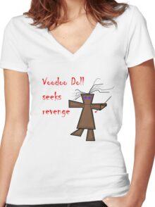 Voodoo Doll Seeks Revenge Women's Fitted V-Neck T-Shirt