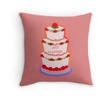 Just Married Wedding Cake Throw Pillow
