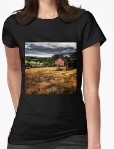 Weathered Red Barn Surrounded By Fields of Gold  Womens Fitted T-Shirt