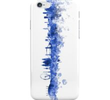 London skyline in blue watercolor on white background iPhone Case/Skin