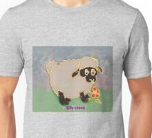 Cartoon Silly Sheep eating flowers Unisex T-Shirt