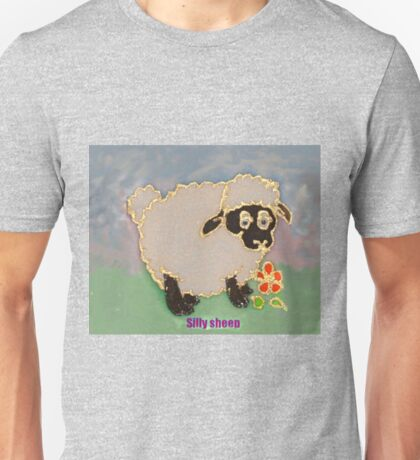 Cartoon Silly Sheep eating flowers Unisex T-Shirt