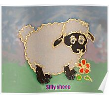 Cartoon Silly Sheep eating flowers Poster