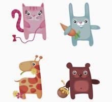 Kitty Bunny Giraffe Bear Cuties One Piece - Short Sleeve