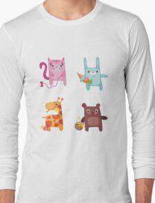 Kitty Bunny Giraffe Bear Cuties Long Sleeve T-Shirt