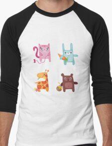 Kitty Bunny Giraffe Bear Cuties Men's Baseball ¾ T-Shirt