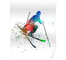 woman skier freestyler jumping Poster