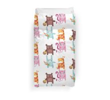 Kitty Bunny Giraffe Bear Cuties Duvet Cover