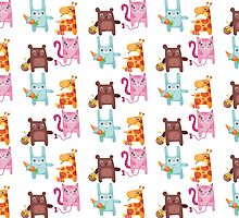 Kitty Bunny Giraffe Bear Cuties by Dacdacgirl
