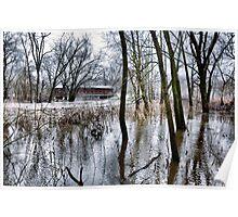 Lake in the Woods Covered Bridge Poster
