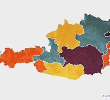 Austria colour region map   by mmapprints
