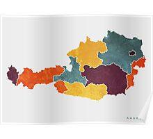 Austria colour region map   Poster