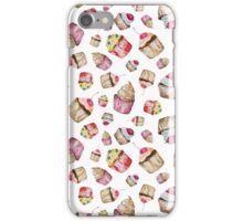 Seamless pattern with watercolor cupcakes iPhone Case/Skin