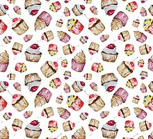 Seamless pattern with watercolor cupcakes by olyaanikeeva