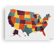USA colour region map Canvas Print