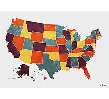 USA colour region map Photographic Print