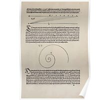 Measurement With Compass Line Leveling Albrecht Dürer or Durer 1525 0029 Angled Spiral Poster