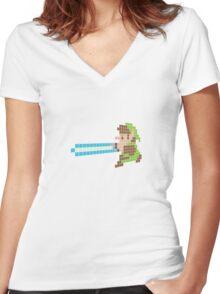 Lightsaber Link Women's Fitted V-Neck T-Shirt