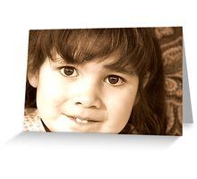 little dark haired child Greeting Card
