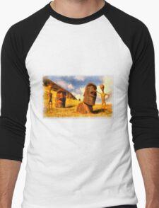 Alien Easter Island Holiday by Raphael Terra Men's Baseball ¾ T-Shirt