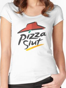 Pizza Slut Hut Fast Food Parody Women's Fitted Scoop T-Shirt