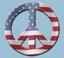 Peace sign and US flag Kids Tee