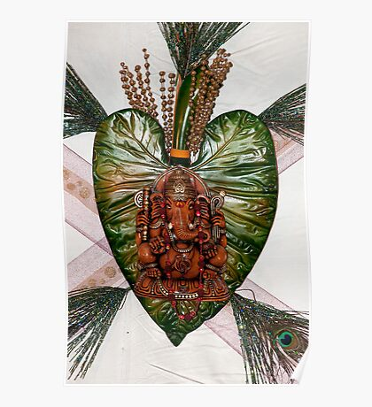 Ganesh on leaf Poster