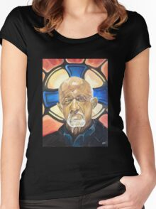 Mike Ehrmantraut Stained Glass Background Breaking Bad Fanart Women's Fitted Scoop T-Shirt