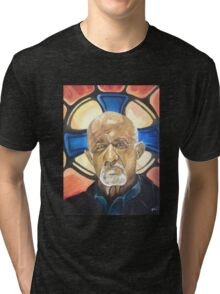 Mike Ehrmantraut Stained Glass Background Breaking Bad Fanart Tri-blend T-Shirt
