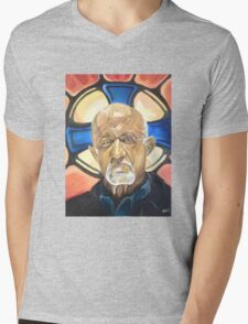 Mike Ehrmantraut Stained Glass Background Breaking Bad Fanart Mens V-Neck T-Shirt