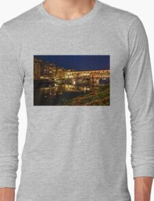Impressions Of Florence - Ponte Vecchio Evening Long Sleeve T-Shirt