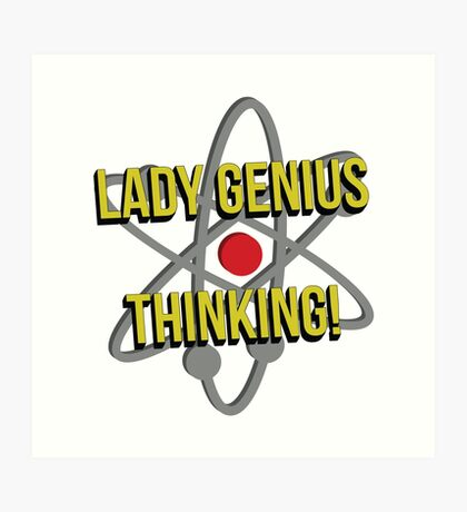 Lady Genius Thinking Art Print