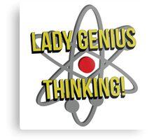 Lady Genius Thinking Metal Print
